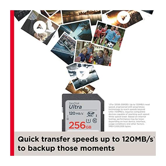 SanDisk 32GB Ultra SDHC UHS-I Memory Card - 120MB/s, C10, U1, Full HD, SD Card - SDSDUN4-032G-GN6IN 4 Great choice for compact to mid-range point-and-shoot cameras Quick transfer speeds up to 120MB/s(1) to backup those moments | (1)(For 32GB-256GB): Up to 120MB/s read speed, engineered with proprietary technology to reach speeds beyond UHS-I 104MB/s, require compatible devices capable of reaching such speed. Write speed lower. Based on internal testing; performance may be lower depending on host device, interface, usage conditions and other factors. 1MB=1,000,000 bytes. Up to 32GB to store tons of pictures and even more Full HD video(2) | 1GB=1,000,000,000 bytes. Actual user storage less. | (2)Full HD (1920x1080) video support may vary based upon host device, file attributes, and other factors. Visit the SanDisk Video Knowledge Base for more information.