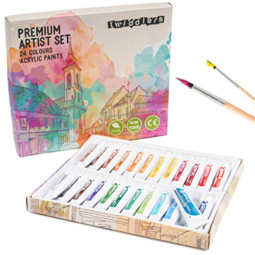 THE TWIDDLERS 24 Couleurs de Peinture Acrylique Riches en Pigments (12ml/Tube)