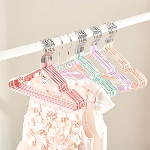 Barnhängare, Babyhängare (20 PS), Barnhängare med skåror, rymdbesparande klädhängare Ej glidande för skjortor, kappa, slacks lagring och display,Pink