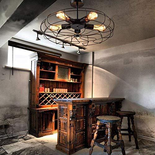 DEJ plafondlamp in vintage-stijl inbouw plafondventilator plafondlamp hangende verlichting van metaal met 5 lampen E27 gloeilamp zwarte binnenlamp retro loft-slaap balkon