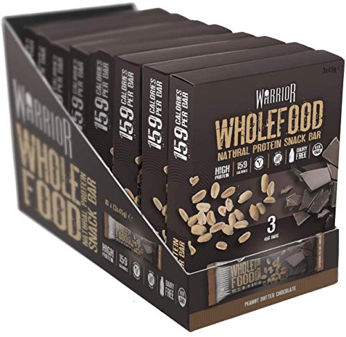 Warrior Wholefood Vegan Protein Bars - Peanut Butter Chocolate - 30 Bar Multipack (10 x Pack of 3) Natural Snack Bars