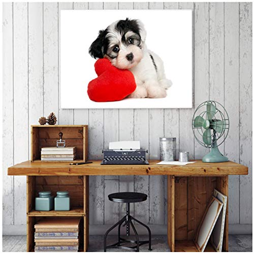 sjkkad Leuke hond hart grappige dier canvas kunst moderne afbeelding Nordic Poster muurkunst kleur Wooncultuur Schilderen Poster Print 60x80 cm Geen lijst