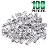 Keadic 100Pcs M6 Metric Rivet Nuts, Aluminum Flat Head Threaded Insert Nutserts for Automotive, Furniture, Decoration