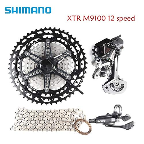 LIDONG Shimano XTR M9100 12 Speed Bike Bicycle MTB groupset kit Easy to Install (Color : with 10 45t Cassette)