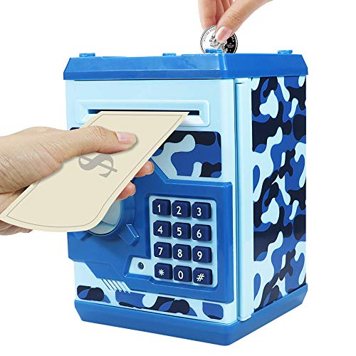 HUSAN Great Gift Toy for Kids Code Electronic Piggy Banks Mini ATM Electronic Coin Bank Box for Children Password Lock Case (Camouflage Blue)