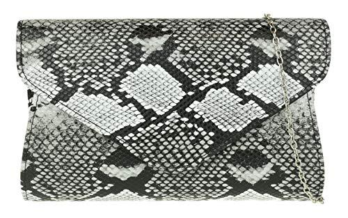 Girly Handbags de piel de serpiente embrague bolsa - Negro