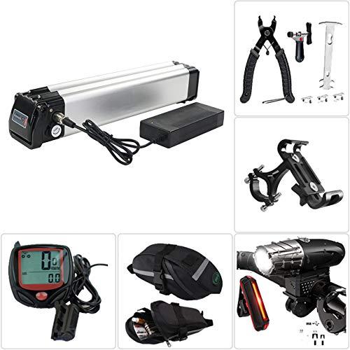 Cargador de batería de bicicleta,para motor de250W~1000W,batería de bicicleta eléctrica con faro de carga USB y juego de luces traseras,herramienta de extracción,bolsa de sillín, cronómetro,48V14Ah