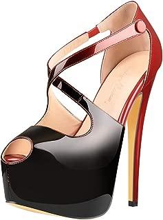 Women's High Heel Peep Toe Platform Stiletto Ankle Crisscross Strap Buckle Snap Dress Party Heeled Sandals
