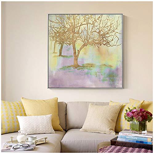 XIANGPEIFBH Wandkunst Bilddruck Moderne abstrakte Goldbäume Pflanze und Poster für Wohnzimmer Pop Decor Leinwand Gemälde 50x50 cm / 19,7