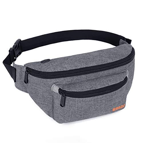Gürteltasche Bauchtasche für Damen und Herren Einstellbare Bum Hüfte Hüfttasche für Sport Laufen Joggen Wandern (Grau-202)