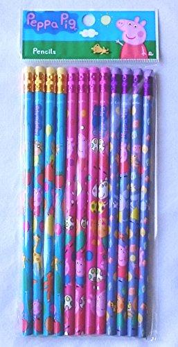 12 pcs Wooden Pencil Disney PIXAR Cartoon Character Authentic Licensed School Party Bag Fillers (Peppa Pig)