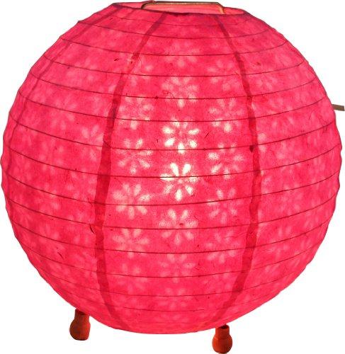 Guru-Shop Corona Round Reispapier Stehlampe Ø 35 cm - Pink, Lokta-Papier, Asiatische Deckenlampen aus Papier & Stoff