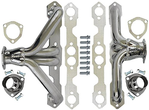 NEW SOUTHWEST SPEED 55-57 CHEVY CERAMIC HOT COATED SHORTY HEADERS FOR SMALL BLOCK CHEVY ENGINES, 262 265 283 302 327 350 400 V-8, 1955 1956 1957 TRI-5 CHEVROLET BEL AIR 150 210 NOMAD DEL RAY
