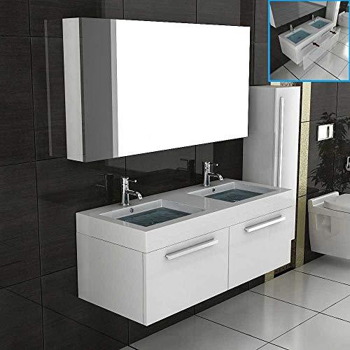 Doppel Waschtisch Badmöbel Set mit Spiegelschrank Weiss hochglanz Unterschrank mit Soft Close Funktion Badezimmerset Komplettprogramme Waschplatz Unterschrank Spiegel