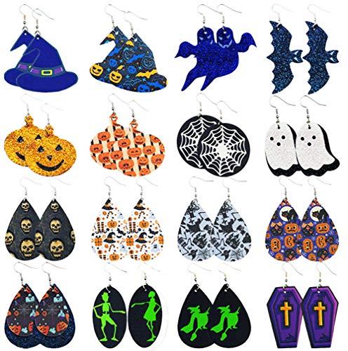 tmtonmoon Halloween Pendientes de lágrima de cuero Aretes Mujer Set Vintage Leather Colgantes Pendientes Conjuntos de joyas para mujeres y niñas