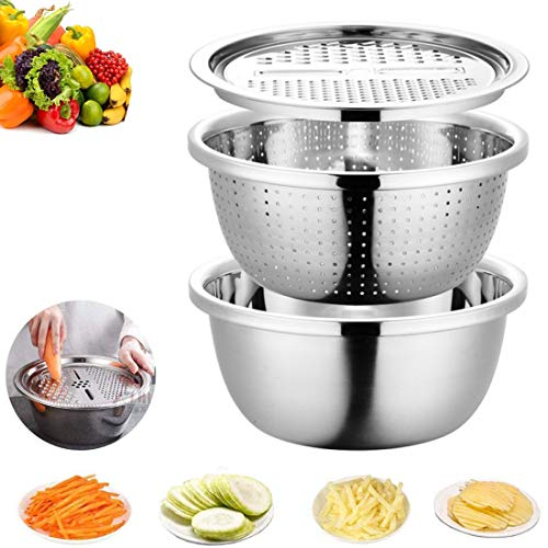 Graters for Kitchen Stainless Steel Grating Wipe Tool Tray Home Kitchen Washing Drain Basin Three-Piece Suit Multifunction Creativity,Silver