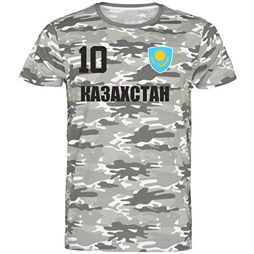 Nation Kasachstan T-Shirt Camouflage Trikot Style Nummer 10 Army (XXL)
