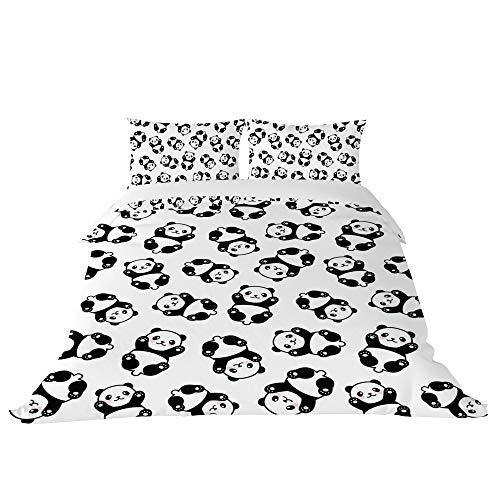 U LIFE Lindo conjunto de capa de edredom com animais pandas branco e preto, conjunto de 3 peças, 1 capa de colcha e 2 fronhas para crianças, meninos, meninas, homens e mulheres