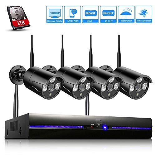 REIGY H.265 Kit Cámaras de Vigilancia WiFi Exterior 1080P, 8CH NVR Sistema de Seguridad...