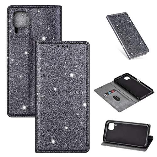 Lanpangzi Compatible con Funda Huawei P20 Brillante Glitter Carcasa PU Cuero Flip Billetera Case con Cierre Magnético Anti-Golpes Cover - Gris