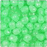 BeadTin Green Glow 11mm Skull Pony Beads (150pcs)
