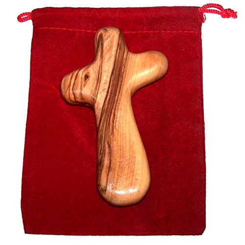 Holy Land Market Holding Cross Will fit in Your Palm Known as Olive Wood Comfort Holding Cross with Velvet Gift Bag - Authentically from Bethlehem (4 inches)