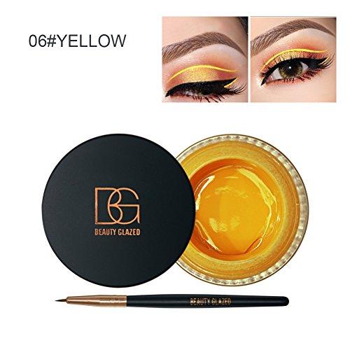 Allbesta 2 in 1 Eyeliner Stift Bunt Gel Liquid Make-up Set Wasserfest und Smudge-proof Kosmetik Schwarz Braun Weiss
