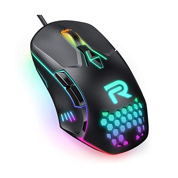 RUNMUS Gaming Mouse with 7 Programmable Buttons, Chroma RGB Backlight & 6400 Adjustable DPI, Ergonomic USB Computer Mouse with High Precision Sensor for Windows PC & Laptop Gamers, Mouse for Laptop