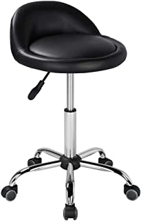 Yaheetech Height Adjustable Rolling Swivel Salon Stool Chair Hydraulic Ergonomic with Backrest Wheels for Tattoo Massage Facial Spa Manicure Dentist Clinic,Black