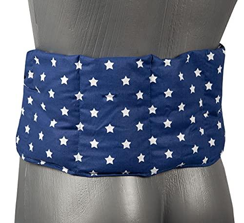 Cojín de lino de 7 cámaras con cinta, 65 x 15 cm, cojín de calor, cojín lumbar, cojín con cintas, semillas de lino, estrellas azules