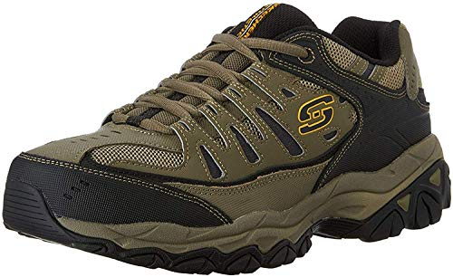 Skechers Men's AFTER BURN M.FIT Memory Foam Lace-Up Sneaker, Pebble/Black/Pebble, 14 4E US