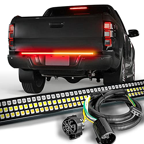 """OPT7 60"""" Redline Triple LED Tailgate Light Bar w/Sequential Amber Turn Signal with 7 to 4 pin Trailer Light Connector Adapter 4 Ft Extension"""