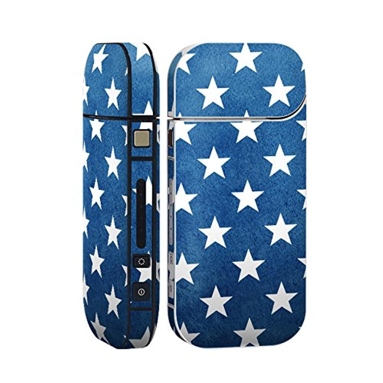 贅沢な粘り強い手荷物スマコレ IQOS 2.4 Plus 専用 シール 全面 ケース おしゃれ 全面ケース 保護 ステッカー デコ アクセサリー デザイン 青 星 スター 012367