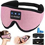 Smart Bluetooth Sleeping Headphones Noise Cancelling Sleep Headphones Breathable 3D Sleep Mask w/Auto Off Timer Voice Control Music Eye Mask for Side Sleepers Travelers Nappers (Pink)