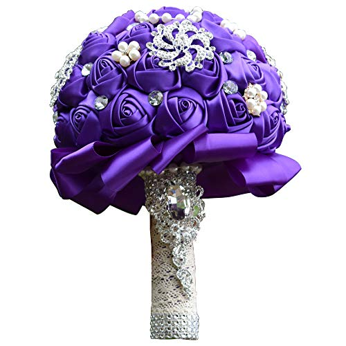 Amoleya Wedding Bouquets for Bride, 7.8 Inch Handmade Bridal Bouquet Bridesmaid Bouquet of Satin Flower Roses with Bling Rhinestones(Purple)