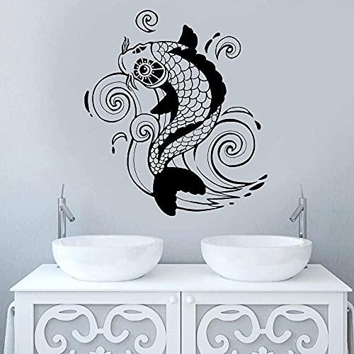 TJVXN Adesivo murale Carpa Vinile Decorazioni per la casa Soggiorno Stile Asiatico Zen Decalcomania di Arte Giapponese Camera da Letto Bagno Murale Carta da Parati 57x64 cm