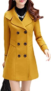 Macondoo Women's Winter Wool Blended Double Breasted Trench Coat Coat Mid Long Overcoat