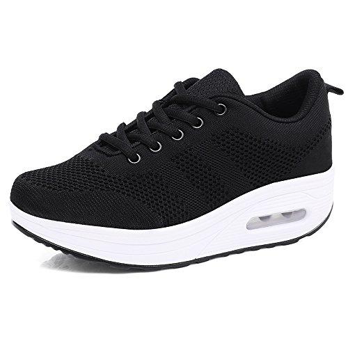 Damen Sneaker mit Keilabsatz Bequeme Plateau Freizeitschuhe Frauen Fitness Sportschuhe Mode Laufschuhe Leicht Turnschuhe ,Schwarz A,39.5 EU, Etikette Gr: 40 CN