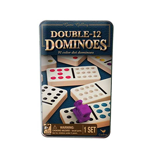 Double 12 Dominos in Tin with Trains