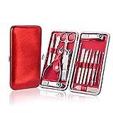 Regalo de set de manicura para damas con estuche de cuero de PU rojo 16 piezas, kit de herramientas de aseo profesional para mujeres y niñas