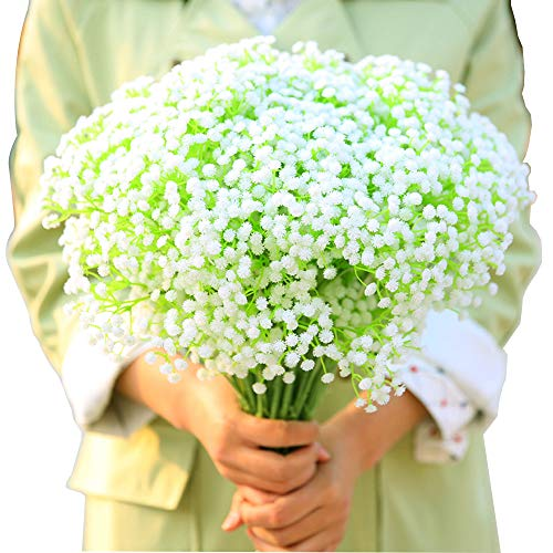 BlueXP 4 Piezas Flores Artificiales Plástico Gypsophila Fake Simulation Baby's Breath para Hogar Boda Fiesta Falsa Decoración Blanco