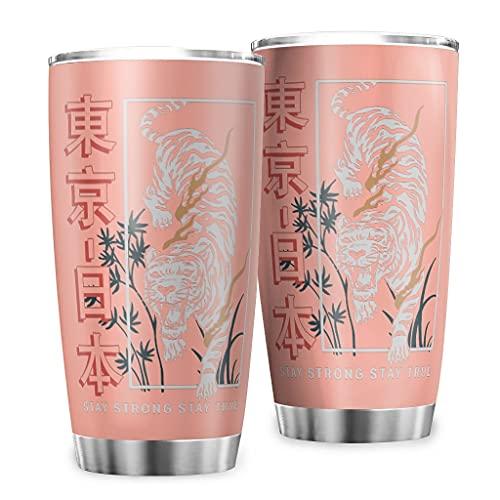 Butterfly Goods Stay True Tokyo Tiger - Taza de café de acero inoxidable con pared duradera para bebidas heladas, 600 ml