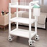 ごみ箱病院治療のバスルーム付きのカート3層モバイルビューティーサロン特殊工具カートをローリングベビーカーラック,白