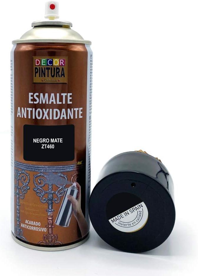 Pintura Spray Negro Mate 400ml ANTIOXIDANTE para metal / anti oxido para metales, hierro, aluminio, acero / Para exteriores - interior aplicación sin imprimacion