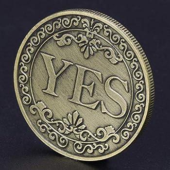 Strugglejewelry Novelty YES NO Letter Challenge Coins Decision Maker  Bronze