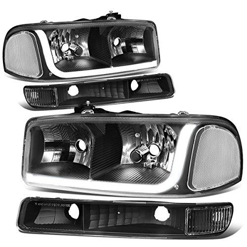 Pair LED DRL Black Housing Clear Corner Headlight + Bumper Lamps Replacement for GMC Sierra Yukon GMT800 / 820 99-07
