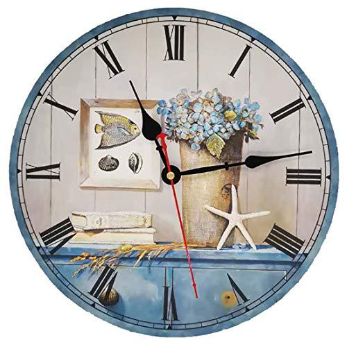 VieVogue Orologio da Parete, Vintage Colorful Francia Parigi Stile Francese del Paese Toscano di Numeri Arabi Design Silenzioso Orologio da Parete in Legno Home Decor (Oceano, 34cm)