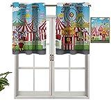 Fashion Design Mantovana termica per finestra Carnevale con molti viaggi e negozi Illustrazione Paesaggio cielo nuvoloso, set di 1, 127 x 45,7 cm per camera dei bambini