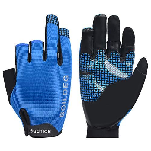 HEALLILY 1 par de Protección UV Pesca Guantes sin Dedos Protección Solar Guantes sin Dedos para Kayak Remar Piragüismo Remo Conducción - Talla L (Azul)