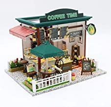 DollLabs DIY Miniature Dollhouse Kit, Coffee Shop Dollhouse Kit with Led Lights and Furniture for Gift Set